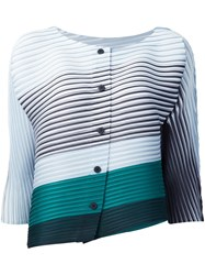 Issey Miyake Pleats Please By Striped Jacket Blue