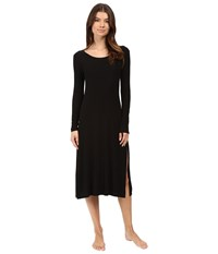 Only Hearts Club Featherweight Rib Long Sleeve T Dress Black Women's Pajama