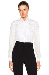 Oscar De La Renta Long Sleeve Tie Neck Blouse In White