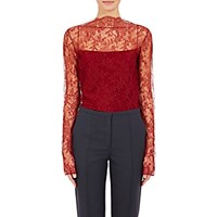 Nina Ricci Women's Sheer Floral Lace Top Burgundy
