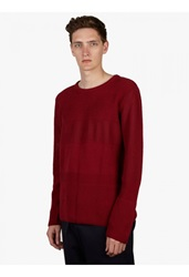 Umit Benan Mens Burgundy Mix Mesh Knit Jumper