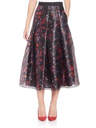 Sachin Babi Pleated Multicolor Skirt Cayanne Red