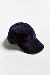 Urban Outfitters Uo Velour Baseball Hat Navy