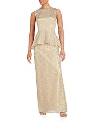 Rickie Freeman For Teri Jon Peplum Sleeveless Lace Gown Gold