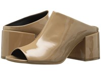 Maison Martin Margiela Mid Heel Mule Beige Patent Leather Women's Shoes