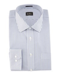 Neiman Marcus Classic Fit Striped Dress Shirt White Blue
