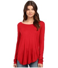 Hurley Staple Classic Long Sleeve Top Gym Red Women's Long Sleeve Pullover