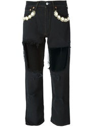 Forte Couture Embellished Cut Out Jeans Black