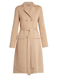 Bottega Veneta Double Breasted Wool Blend Coat Beige