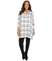 Christin Michaels Plus Size Julia Collared Plaid Top Off White Black Women's Clothing Multi