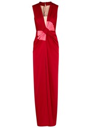 Paule Ka Red Bow Effect Satin Gown Red And White