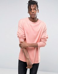 Asos Oversized Longline Long Sleeve T Shirt Orange