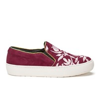 Markus Lupfer Women's Multi Printed Slip On Trainers Burgundy Suede Pink Embroidery Red