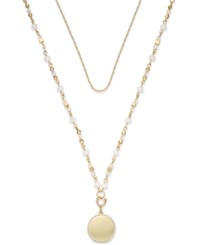 Inc International Concepts M. Haskell For Inc Gold Tone Double Layer Pendant Necklace Only At Macy's