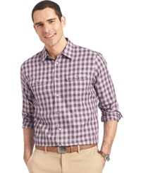Van Heusen Long Sleeve Heathered Plaid Shirt Purple Jasper