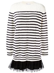 Red Valentino Lace Hem Striped Sweater Black