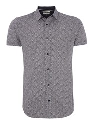 Duck And Cover Print Classic Fit Short Sleeve Shirt Dark Blue