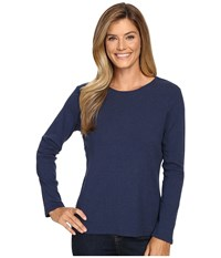 Pendleton L S Jewel Neck Cotton Rib Tee Tartan Navy Heather Women's Long Sleeve Pullover Blue