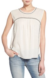 Women's Velvet By Graham And Spencer Embroidered Sleeveless Top Off White