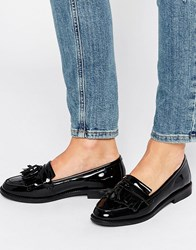 Office Frazzle Tassle Patent Loafers Black Patent Leather