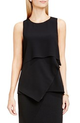 Vince Camuto Women's Sleeveless Asymmetrical Layer Blouse Rich Black