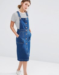 Oasis Denim Button Through Dungaree Dress Denim