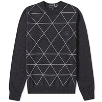 Fred Perry X Raf Simons Intarsia Crew Knit Grey