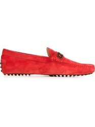 Tod's Logo Plaque Loafers Red