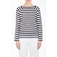 Harvey Faircloth Lace Striped Top Navy White
