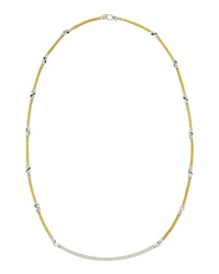 Alor Two Tone Diamond Bar Necklace White Yellow Gold