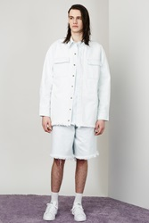 Marques Almeida Patch Pocket Oversized Denim Shirt Baby Blue