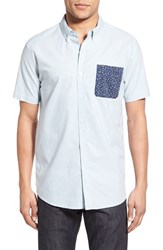 Rip Curl Men's 'Our Time' Trim Fit Short Sleeve Woven Shirt Blue