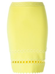 Alexander Mcqueen Wavy Embroidered Pencil Skirt Yellow And Orange