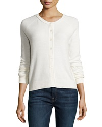 Neiman Marcus Cashmere Rolled Trimmed Cardigan Ivory