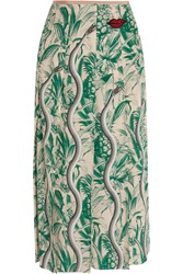 Gucci Embellished Printed Silk Crepe De Chine Midi Skirt Green