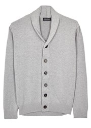 John Smedley Mainsail Grey Knitted Cotton Cardigan Silver