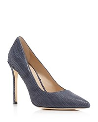 Pour La Victoire Celeste Snakeskin Embossed High Heel Pumps Navy