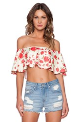 Twin Sister Big Frill Crop Top Yellow
