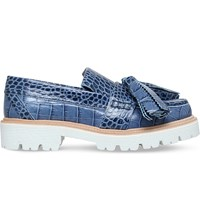 Msgm Snake Print Leather Tassel Loafers Lilac