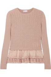 Red Valentino Redvalentino Point D'esprit Trimmed Ribbed Pointelle Knit Cotton Sweater Antique Rose