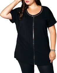 Mblm By Tess Holiday Plus Cutout Lace Up Short Sleeve Tunic Black