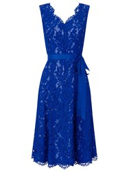 Jacques Vert Corded Lace Prom Dress Mid Blue