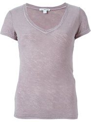 James Perse V Neck T Shirt Pink And Purple