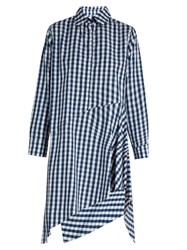 Marques Almeida Asymmetric Hem Gingham Cotton Dress Blue White