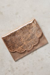 Anthropologie Scalloped Clutch Rose