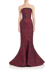 Zac Posen Embroidered Strapless Mermaid Gown Multi Floral