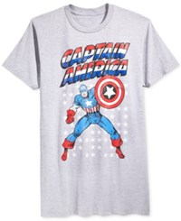 Mighty Fine Men's Captain America Stars Pose Graphic Print T Shirt Silver