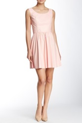 Vakko Pleather Skater Dress Pink