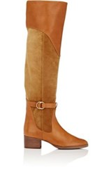 Chloe Women's Leather And Suede Over The Knee Riding Boots Brown