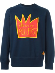 Vivienne Westwood Man Crown Print Sweatshirt Blue
